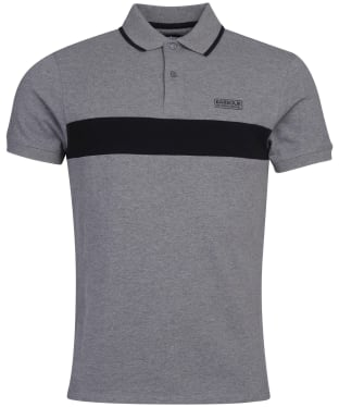 Men's Barbour International Block Stripe Polo Shirt - Anthracite Marl