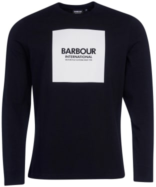 Men's Barbour International Block Print L/S Tee - Black