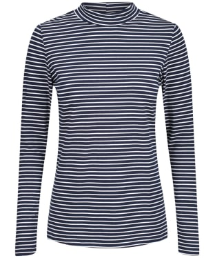 Women's Lily & Me Turtle Neck Stripe Top - Navy / Ecru