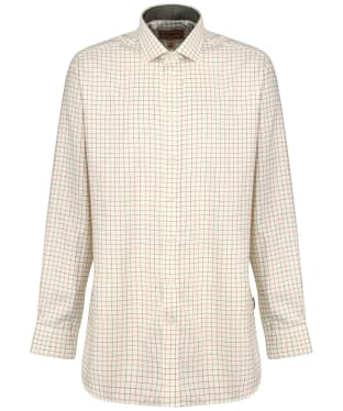 Men's Schoffel Newton Tailored Sporting Shirt - Olive / Brick Check