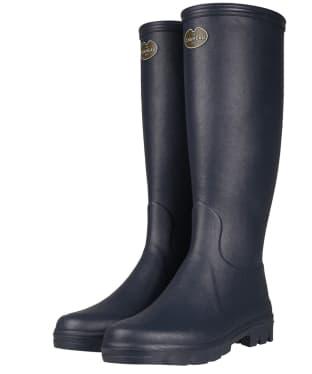 Women's Le Chameau Iris Jersey Lined Boots - Bleu Fonce