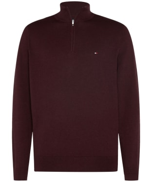 Men's Tommy Hilfiger Organic Cotton Blend Zip Neck Jumper - Deep Burgundy Heather