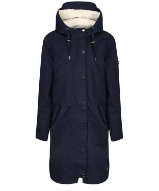 Women's Joules Loxley Cosy Waterproof Padded Raincoat - Marine Navy