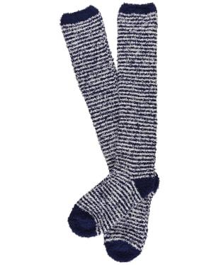Women's Seasalt Fluffies Long Socks - Mini Stripe French Blue