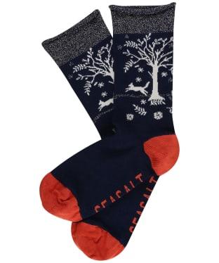 Women's Seasalt Snowy Scenes Socks - Tree Pots Raven