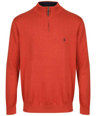 Men's Joules Hillside ¼ Zip Funnel Neck Jumper - Rust