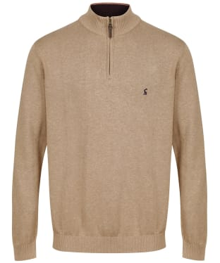 Men's Joules Hillside ¼ Zip Funnel Neck Jumper - Camel Marl
