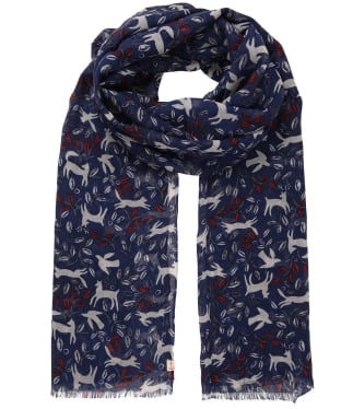 Women's Seasalt Pretty Printed Scarf - Folk Animals French Blue