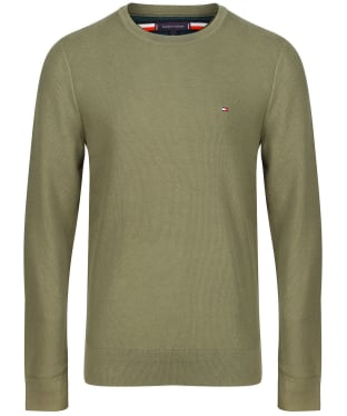 Men's Tommy Hilfiger Honeycomb Knit Crew Neck Jumper - Utility Olive