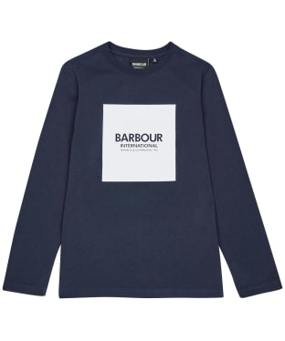 Boy's Barbour International Block Logo L/S Tee – 6-9yrs - Navy