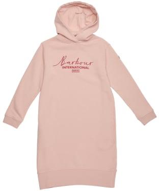 Girl's Barbour International Grid Hooded Dress – 6-9yrs - Rose Dust