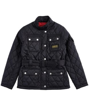 Girl's Barbour International Quilted Jacket, 2-9yrs - Black / Red