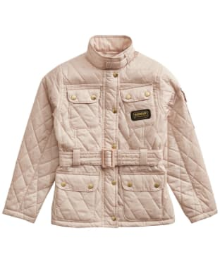 Girl's Barbour International Quilted Jacket, 2-9yrs - Oyster