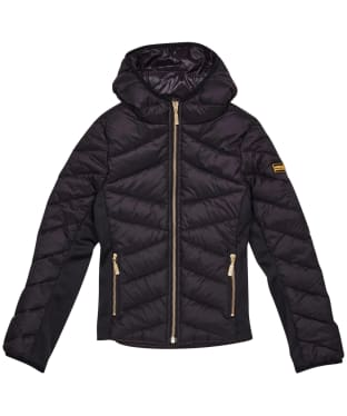 Girl's Barbour International Grid Quilted Jacket – 6-9yrs - Black