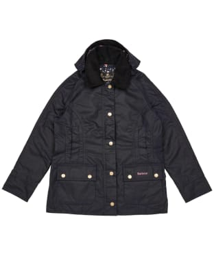 Girl's Barbour Hooded Beadnell Wax Jacket – 6-9yrs - Royal Navy