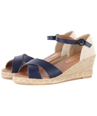 Women's Barbour Angeline Espadrille Wedge Sandals - Navy