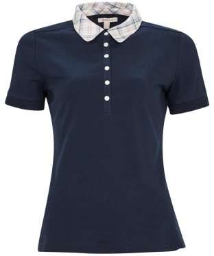Women's Barbour Malvern Polo Shirt - Navy / Tartan