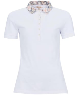 Women's Barbour Malvern Polo Shirt - White / Tartan