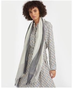 Women's Barbour Tartan Border Wrap - Navy / Grey