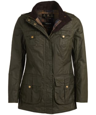 Women's Barbour Defence Lightweight Waxed Jacket - Archive Olive