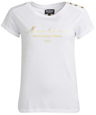 Women's Barbour International Grid Tee - White