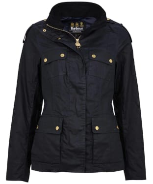 Women's Barbour International Delta Waxed Jacket - Royal Navy