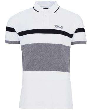 Men's Barbour International Clax Stripe Polo Shirt - White