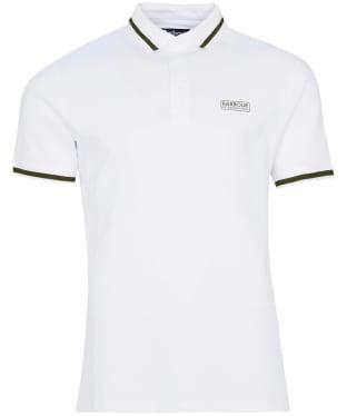 Men's Barbour International Grid Tipped Polo Shirt - White