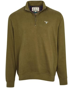 Men's Barbour Bankside Half Zip Sweater - Dark Olive