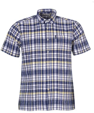Men's Barbour Linen Mix 2 S/S Summer Shirt - Navy