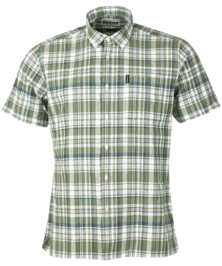 Men's Barbour Linen Mix 2 S/S Summer Shirt - Olive