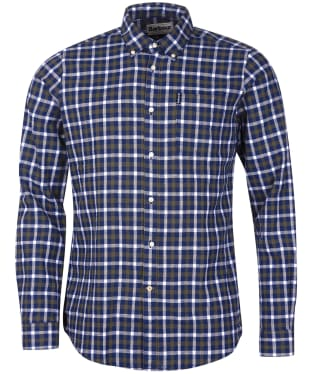 Men's Barbour Linen Mix 3 Tailored Shirt - Inky Blue Check