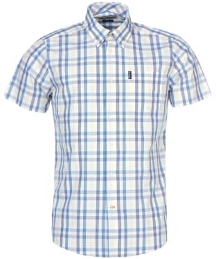 Men's Barbour Tattersall 14 S/S Tailored Shirt - Aqua