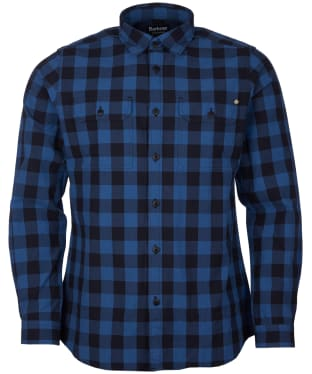 Men's Barbour International Bold Block Check Shirt - Mid Blue Check