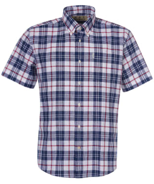 Men's Barbour Linen Mix 6 Regular Fit S/S Shirt - White Check