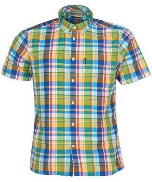 Men's Barbour Madras 9 S/S Tailored Shirt - Green Check