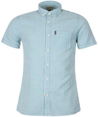 Men's Barbour Seersucker 8 S/S Tailored Shirt - Aqua