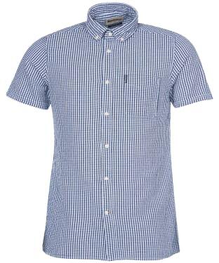 Men's Barbour Seersucker 8 S/S Tailored Shirt - Inky Blue