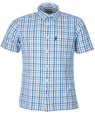 Men's Barbour Seersucker 7 S/S Summer Shirt - Inky Blue Check