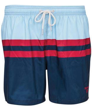 Men's Barbour Double Stripe Swim Shorts - Powder Blue