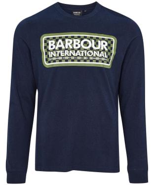 Men's Barbour International Grid Logo L/S Tee - Navy