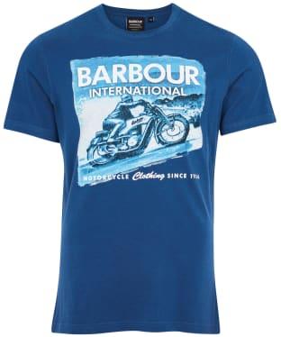 Men's Barbour International Archive Downforce Tee - Mid Blue