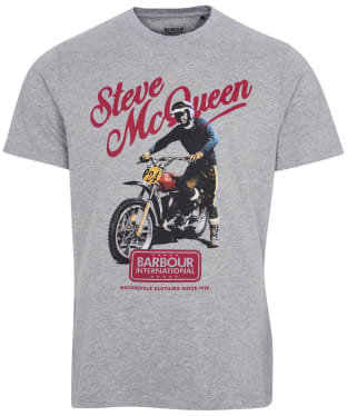 Men's Barbour International Steve McQueen Enduro Tee - Grey Marl