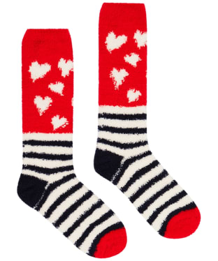 Women's Joules Fabulous Fluffy Socks - Navy Heart Stripe