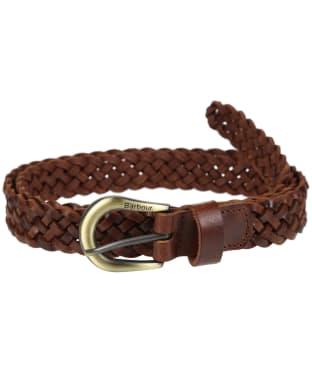 Women's Barbour Plain Braid Leather Belt - Tan