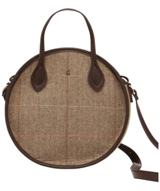Women's Joules Adeline Round Tweed Bag - Dark Brown Check