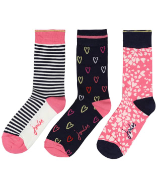 Women's Joules Brilliant Bamboo Socks – 3 Pack - NAVY HEART