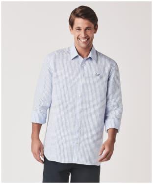 Men's Crew Clothing Long Sleeve Linen Gingham Shirt - Sky White