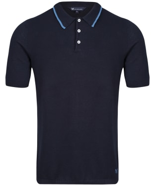 Men's Crew Clothing Tipped Knit Polo Shirt - Dark Navy