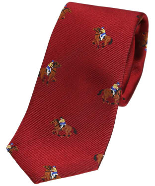 Men's Soprano Horse Racing Woven Tie - Dark Red